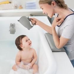 Piłka wielkie litery sensoryczna niebieska Rubbabu